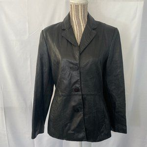 Wilsons Black Genuine Leather Fitted Jacket SZ M
